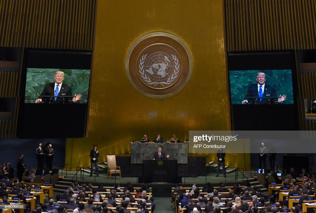 US President Donald Trump waits to address the 72nd session of the United Nations General Assembly at the UN headquarters in New York on September 19, 2017.