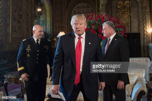 US President Donald Trump walks away after naming US Army Lieutenant General HR McMaster as his national security adviser and Keith Kellogg as...