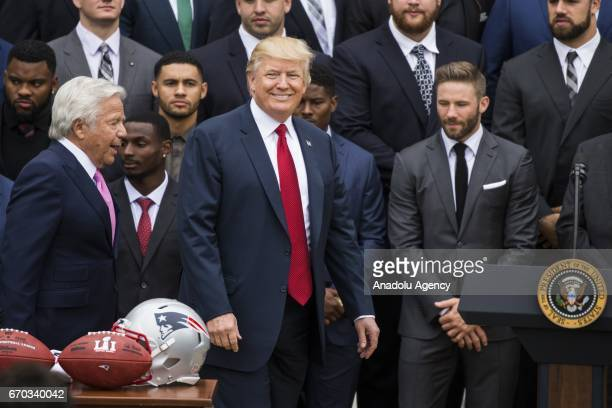 S President Donald Trump walks onto the stage to welcome the 2017 Super Bowl Champions the New England Patriots with their owner Robert Kraft to the...