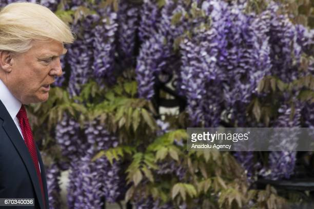 S President Donald Trump walks to the podium to welcome the 2017 Super Bowl Champions the New England Patriots to the White House in Washington...