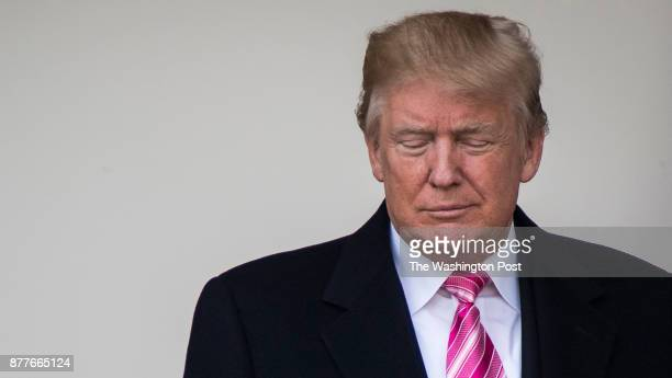 President Donald Trump walks to the Rose garden for the 70th National Thanksgiving turkey pardoning ceremony in the Rose Garden at the White House in...
