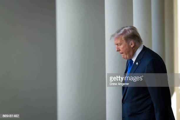 S President Donald Trump walks to the Rose Garden to announce his nominee for the chairman of the Federal Reserve Jerome Powell at the White House...