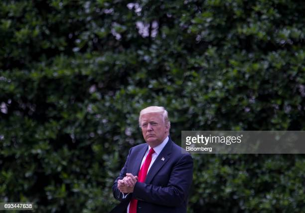 US President Donald Trump walks towards Marine One to depart for Cincinnati on the South Lawn of the White House in Washington DC US on Wednesday...