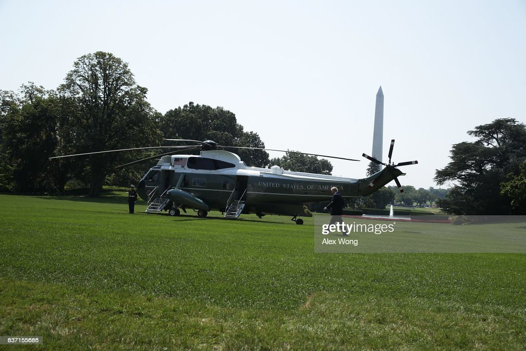 U.S. President Donald Trump walks towards the Marine One on the South Lawn for a departure from the White House August 22, 2017 in Washington, DC. President Trump was traveling for events in Arizona.