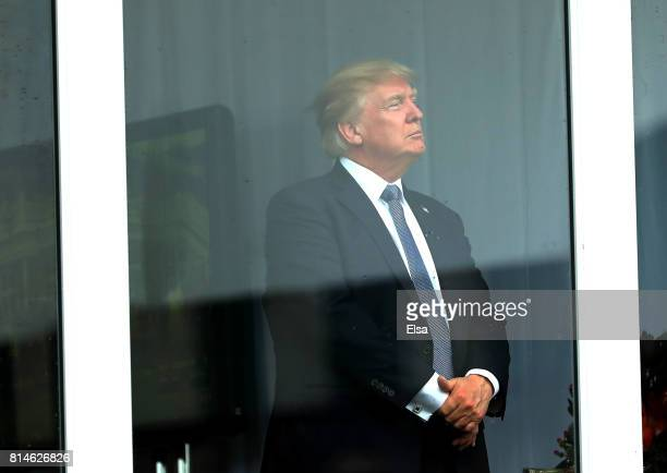S President Donald Trump watches the US Women's Open round two on July 14 2017 at Trump National Golf Course in Bedminster New Jersey