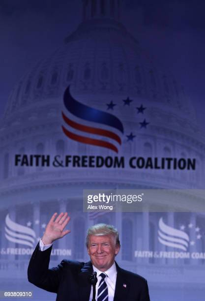 S President Donald Trump waves as he arrives to speak during the Faith Freedom Coalition's Road to Majority Conference June 8 2017 in Washington DC...