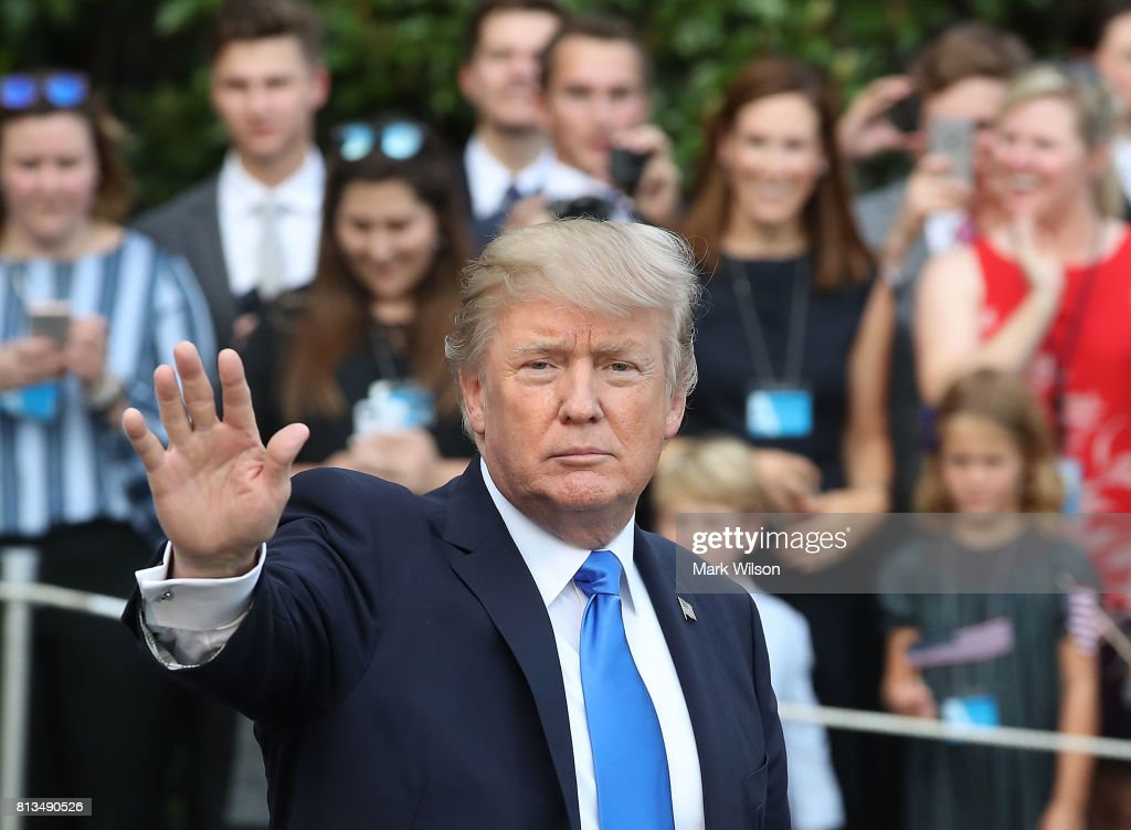 President Trump And First Lady Depart White House En Route To Paris : News Photo