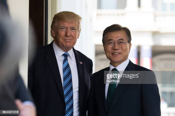 President Donald Trump welcomed President Moon of the Republic of Korea at the West Wing Portico of the White House on Friday June 30 2017