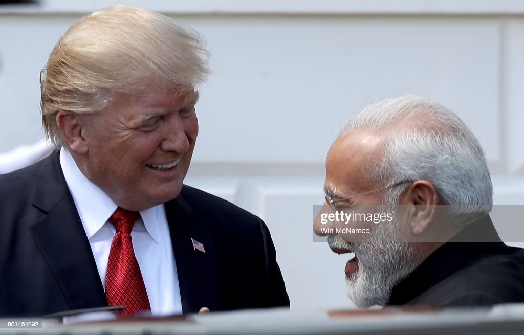 U.S. President Donald Trump welcomes Indian Prime Minister Narendra Modi to the White House June 26, 2017 in Washington, DC. Trump and Modi are scheduled to meet in the Oval Office later today and discuss a range of bilateral issues.
