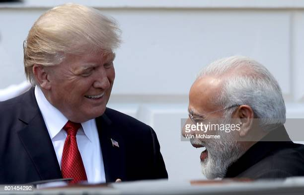 S President Donald Trump welcomes Indian Prime Minister Narendra Modi to the White House June 26 2017 in Washington DC Trump and Modi are scheduled...