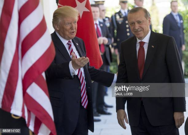 President Donald Trump welcomes Turkish President Recep Tayyip Erdogan as he arrives for meetings at the White House in Washington DC May 16 2017 /...
