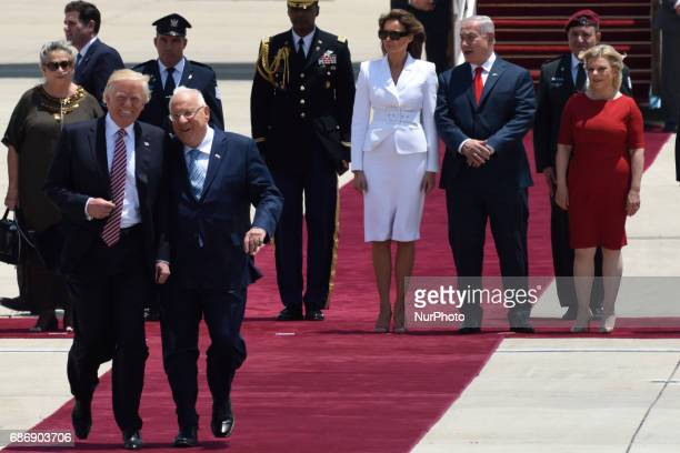 US President Donald Trump with Israeli President Ruvi Rivlin during an official welcoming ceremony on his arrival at Ben Gurion International Airport...