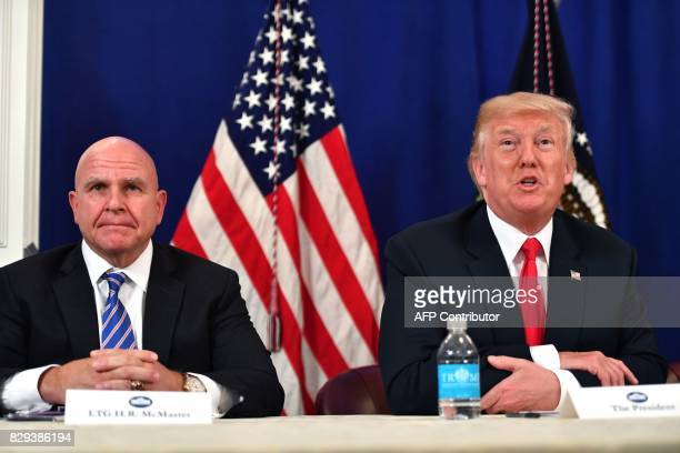 US President Donald Trump with National Security Advisor H R McMaster speaks during a security briefing on August 10 at his Bedminster National Golf...