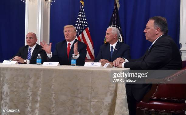 US President Donald Trump with National Security Advisor H R McMaster Vice President Mike Pence and CIA Director Mike Pompeo speaks during a security...