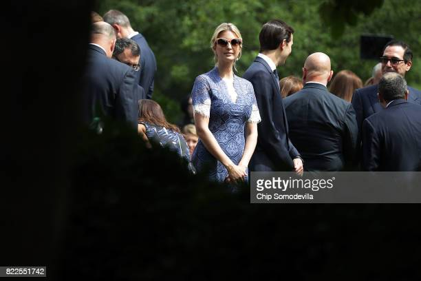 President Donald Trump's daughter Ivanka Trump joins members of his cabinet before the start of a news conference with President Trump and Lebanese...