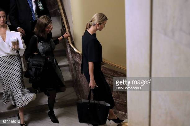 President Donald Trump's daughter Ivanka Trump leaves the US Capitol November 9 2017 in Washington DC Ivanka Trump was seen leaving the offices of...