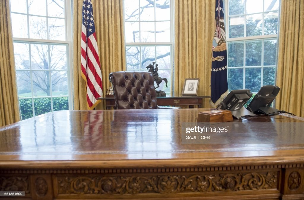 US President Donald Trumps desk the Resolute Desk is seen in