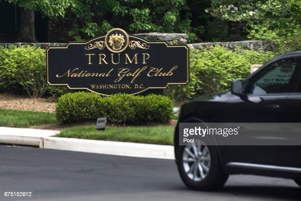 President Donald Trump's motorcade arrives at the Trump National Golf Club on April 30 2017 in Sterling Virginia In his first 100 days in office...