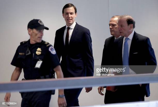 S President Donald Trump's soninlaw and senior White House advisor Jared Kushner arrives for a meeting with the Senate Select Committee on...
