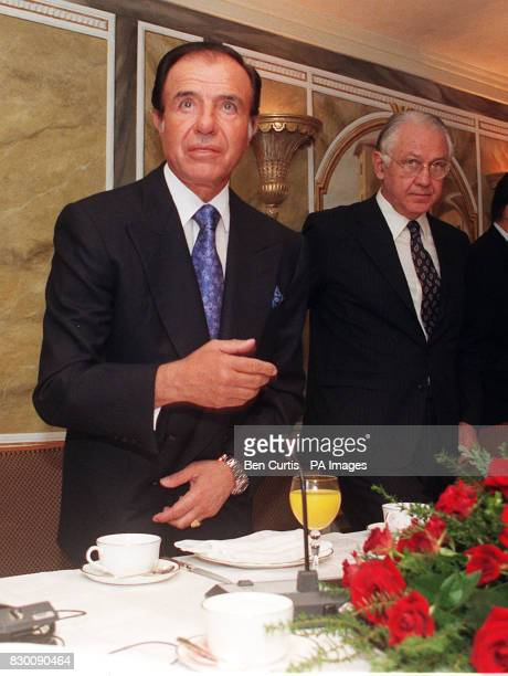President Dr Carlos Menem with Argentinian Minister of Foreign Affairs Guido di Tella sit down to a breakfast meeting with British business leaders...