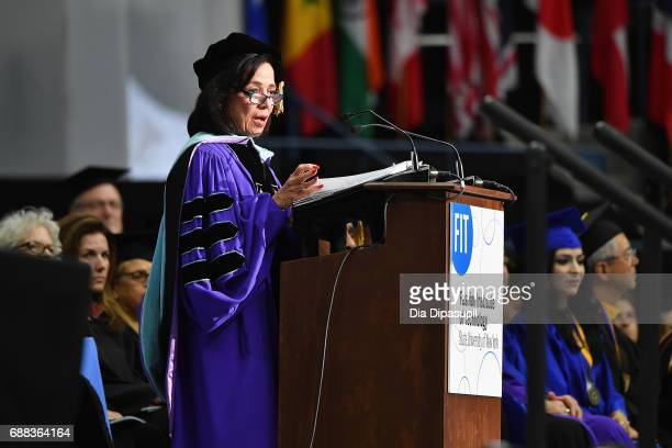 President Dr Joyce F Brown speaks onstage during The Fashion Institute of Technology's 2017 Commencement Ceremony at Arthur Ashe Stadium on May 25...