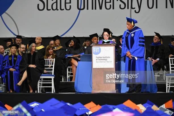 President Dr Joyce F Brown speaks onstage with Essie Weingarten and H Carl McCall during The Fashion Institute of Technology's 2017 Commencement...