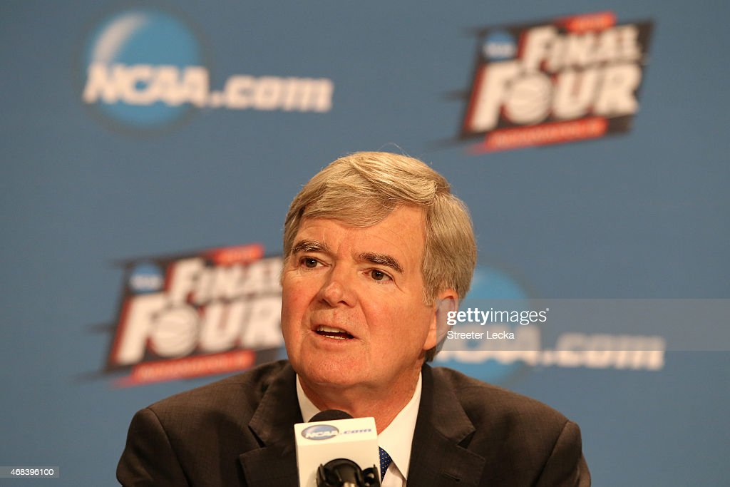NCAA president Dr. <a gi-track='captionPersonalityLinkClicked' href=/galleries/search?phrase=Mark+Emmert&family=editorial&specificpeople=2643280 ng-click='$event.stopPropagation()'>Mark Emmert</a> addresses the media during a press conference before the 2015 NCAA Men's Final Four at Lucas Oil Stadium on April 2, 2015 in Indianapolis, Indiana.