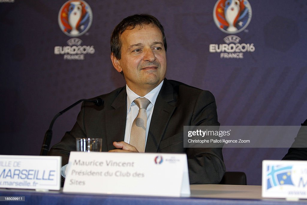President du Club des Sites Maurice Vincent during the EURO 2016 Steering Committee Meeting, on October 17, 2013 in Marseille, France.