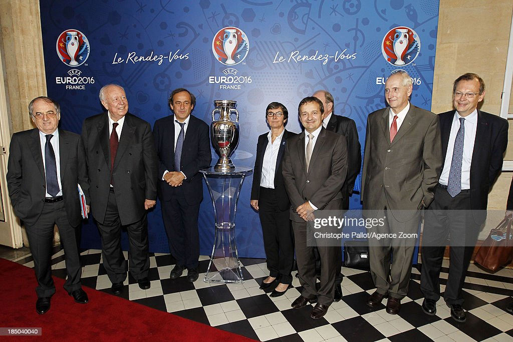 President du Club des Sites Maurice Vincent, Sports Minister Valerie Fourneyron, UEFA President Michel Platini, President of the Euro 2016 SAS Jacques Lambert, President of the French Football Federation Noel le Graet during the EURO 2016 Steering Committee Meeting, on October 17, 2013 in Marseille, France.