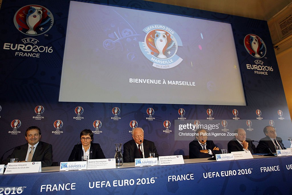 President du Club des Sites Maurice Vincent, Sports Minister Valerie Fourneyron, Mayor of Marseille Jean Claude Gaudin, UEFA President <a gi-track='captionPersonalityLinkClicked' href=/galleries/search?phrase=Michel+Platini&family=editorial&specificpeople=206862 ng-click='$event.stopPropagation()'>Michel Platini</a>, President of the Euro 2016 SAS <a gi-track='captionPersonalityLinkClicked' href=/galleries/search?phrase=Jacques+Lambert&family=editorial&specificpeople=5567008 ng-click='$event.stopPropagation()'>Jacques Lambert</a>, President of the French Football Federation Noel le Graet during the EURO 2016 Steering Committee Meeting, on October 17, 2013 in Marseille, France.