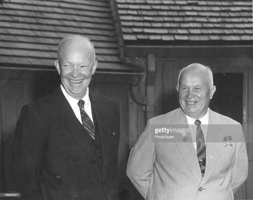 US President <a gi-track='captionPersonalityLinkClicked' href=/galleries/search?phrase=Dwight+Eisenhower&family=editorial&specificpeople=90742 ng-click='$event.stopPropagation()'>Dwight Eisenhower</a> (1890 - 1965) (left) and Soviet leader <a gi-track='captionPersonalityLinkClicked' href=/galleries/search?phrase=Nikita+Khrushchev&family=editorial&specificpeople=92216 ng-click='$event.stopPropagation()'>Nikita Khrushchev</a> (1874 - 1971) at Camp David, Maryland, September 25, 1959.