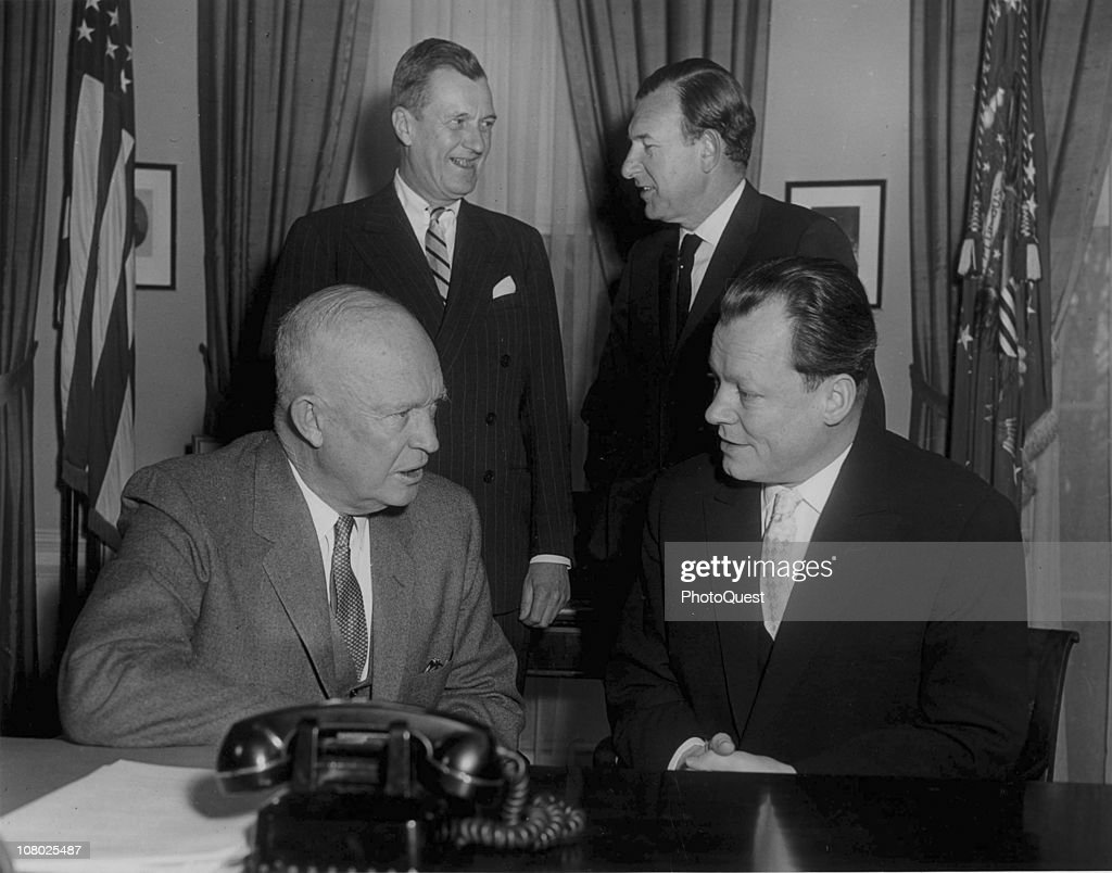 US President <a gi-track='captionPersonalityLinkClicked' href=/galleries/search?phrase=Dwight+Eisenhower&family=editorial&specificpeople=90742 ng-click='$event.stopPropagation()'>Dwight Eisenhower</a> (1890 - 1965) (left) confers with German politician and Mayor of West Berlin (and future Chancellor of Germany) Willi Brandt (1913 - 1992) (right) at the White House, Washington DC, February 11, 1959.