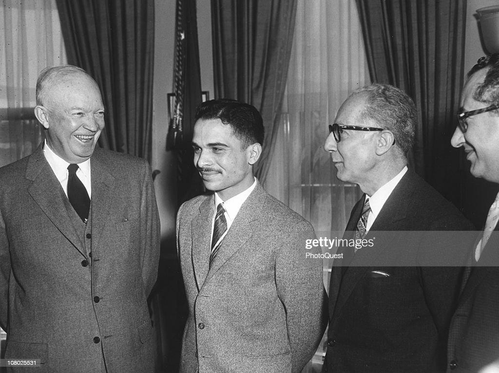 US President <a gi-track='captionPersonalityLinkClicked' href=/galleries/search?phrase=Dwight+Eisenhower&family=editorial&specificpeople=90742 ng-click='$event.stopPropagation()'>Dwight Eisenhower</a> (1890 - 1965) (left) shares a laugh with <a gi-track='captionPersonalityLinkClicked' href=/galleries/search?phrase=King+Hussein&family=editorial&specificpeople=93663 ng-click='$event.stopPropagation()'>King Hussein</a> of Jordan (1935 - 1999) (second left) and unidentified others in the White House, Washington DC, March 25, 1959.