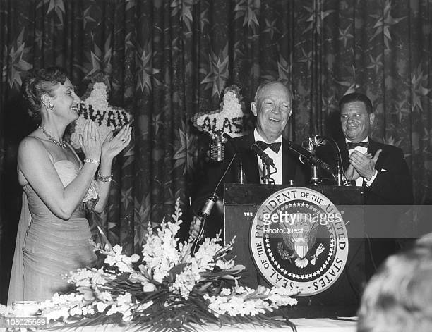 US President Dwight Eisenhower speaks from a lecturn at a function to celebrate the admission of Alaska and Hawaii as two new states April 13 1959