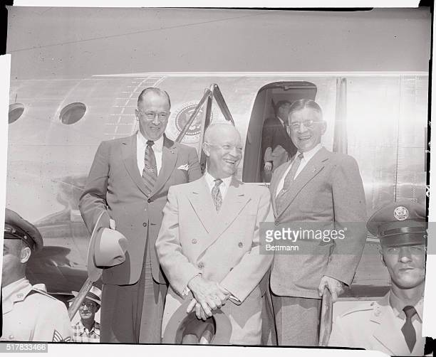 President Eisenhower is shown with Secretary of Agriculture Ezra Taft Benson and Secretary of Interior Douglas McKay as they prepared to leave McCook...
