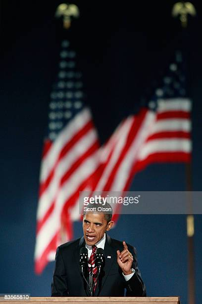 S President elect Barack Obama gives his victory speech to supporters during an election night gathering in Grant Park on November 4 2008 in Chicago...