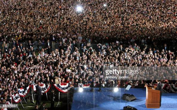 S President elect Barack Obama smiles as he gives his victory speech to supporters during an election night gathering in Grant Park on November 4...