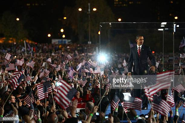 S President elect Barack Obama stands on stage after giving his victory speech at an election night gathering in Grant Park on November 4 2008 in...