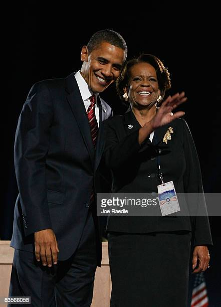 S President elect Barack Obama stands on stage with his motherinlaw Marian Robinson during an election night gathering in Grant Park on November 4...