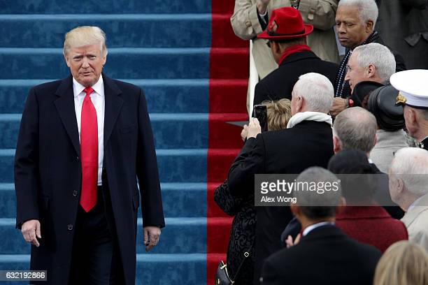 President Elect Donald Trump arrives on the West Front of the US Capitol on January 20 2017 in Washington DC In today's inauguration ceremony Donald...
