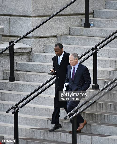 US President elect Donald Trump's nominees for housing and urban development secretary Ben Carson and EPA administrator Scott Pruitt are seen...