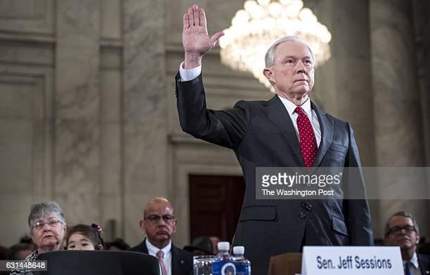 WASHINGTON DC President Elect Donald Trump's pick for Attorney General Senator Jeff Sessions at his confirmation hearing before the Senate Judiciary...