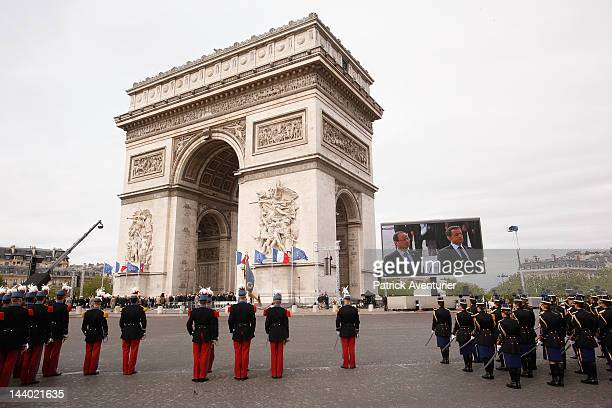 President elect Francois Hollande and President Nicolas Sarkozy commemorate together the annual ceremony marking Victory in Europe Day 8th May 1945...