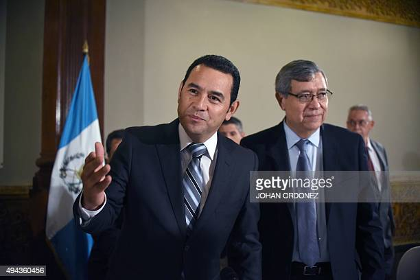 President elect Jimmy Morales and Vice President elect Jafeth Cabrera of the National Front Convergence arrive to a press conference in Guatemala...