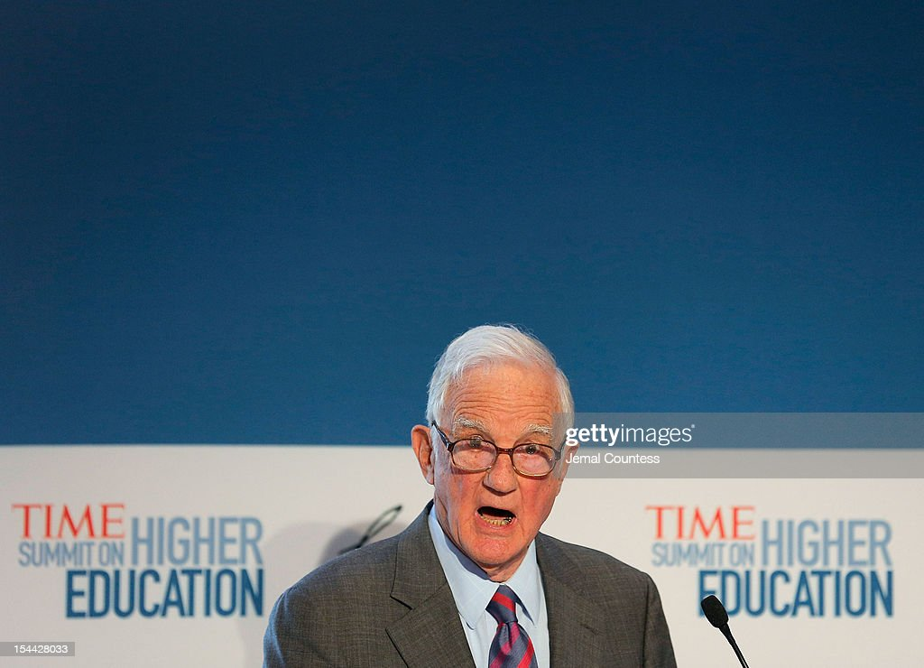 President Emeritus of Harvard University Derek Bok delivers the keynote address during TIME Summit On Higher Education on October 18, 2012 in New York City.