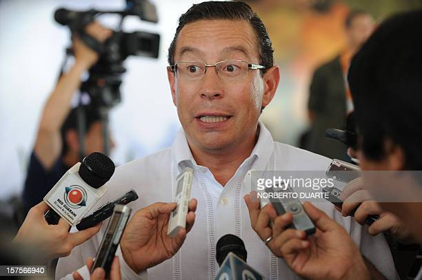 US President Energy representative Richard Gonzalez speaks with the press after a launching ceremony of the oil exploitation programme in Chaco...