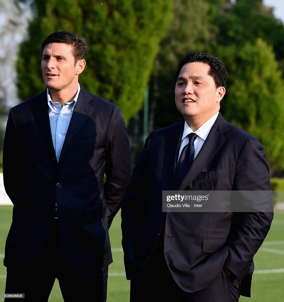 President <a gi-track='captionPersonalityLinkClicked' href=/galleries/search?phrase=Erick+Thohir&family=editorial&specificpeople=9531719 ng-click='$event.stopPropagation()'>Erick Thohir</a> (R) and Vice President <a gi-track='captionPersonalityLinkClicked' href=/galleries/search?phrase=Javier+Zanetti&family=editorial&specificpeople=206966 ng-click='$event.stopPropagation()'>Javier Zanetti</a> attend the FC Internazionale training session at the club's training ground at Appiano Gentile on May 6, 2016 in Como, Italy.