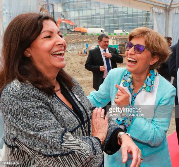 President Europe of Ivanhoe Cambridge and General Manager of Gecina Iranian born Meka Brunel shares a light moment with the Mayor of Paris Anne...