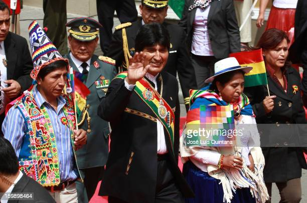 President Evo Morales greets after concluding his management report at the Legislative Assembly during the celebration of the third anniversary of...