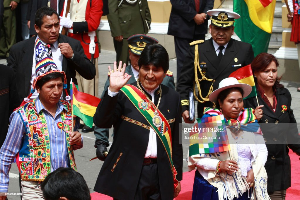 President <a gi-track='captionPersonalityLinkClicked' href=/galleries/search?phrase=Evo+Morales&family=editorial&specificpeople=272981 ng-click='$event.stopPropagation()'>Evo Morales</a> greets after concluding his management report at the Legislative Assembly during the celebration of the third anniversary of the foundation of the Plurinational State of Bolivia on January 22, 2013 in La Paz, Bolivia.